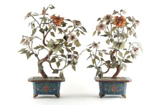 Property of a lady - a pair of Chinese cloisonne & hardstone models of trees, early 20th century,