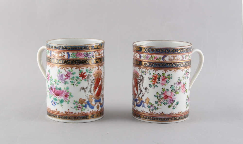 Property of a gentleman - a pair of late 19th century Samson of Paris armorial mugs, 3.9ins. (9.