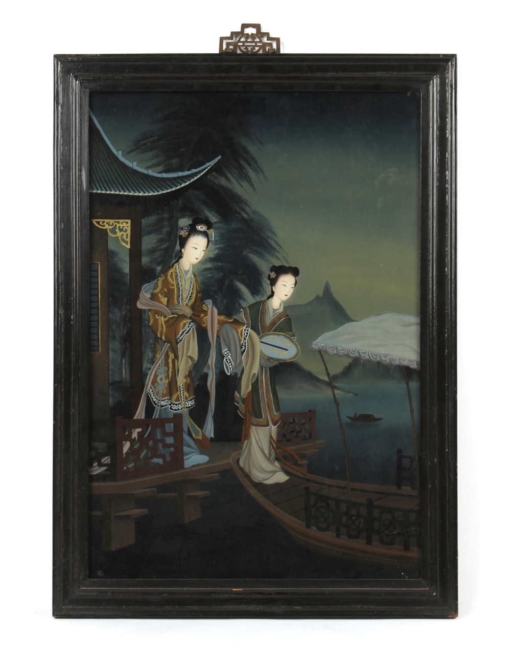 Property of a lady - a 19th century Chinese reverse painting on glass depicting two ladies