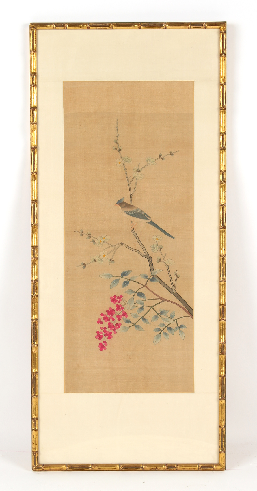 Property of a lady - a kesi silk picture depicting a bird in a blossoming cherry tree with fruit,