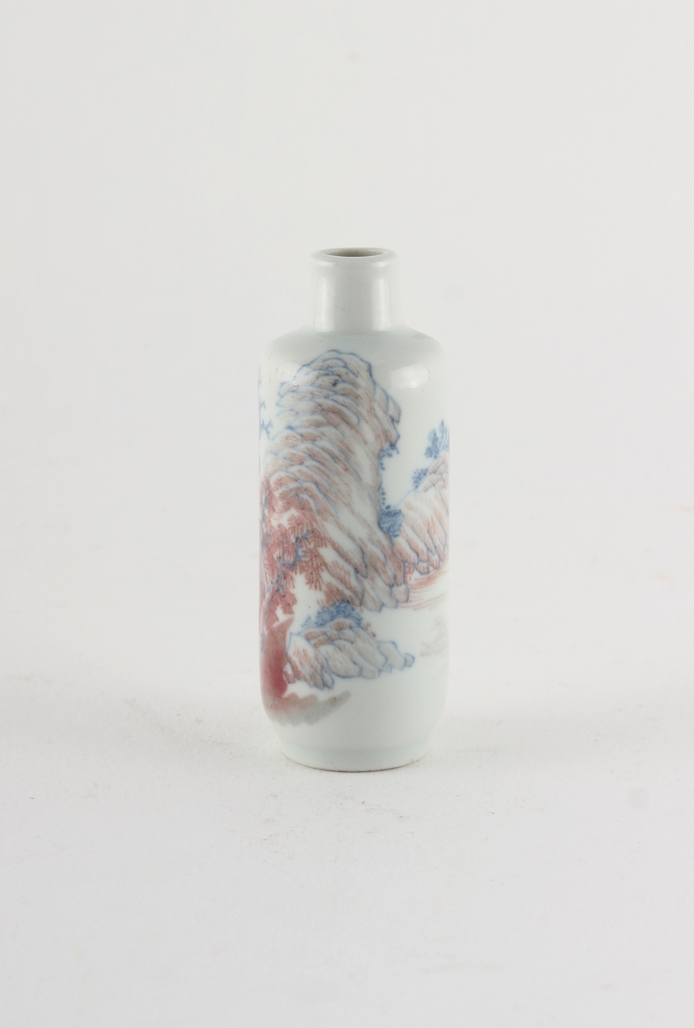 Property of a lady - a Chinese copper red & underglaze blue snuff bottle, 19th century, painted with - Image 2 of 2