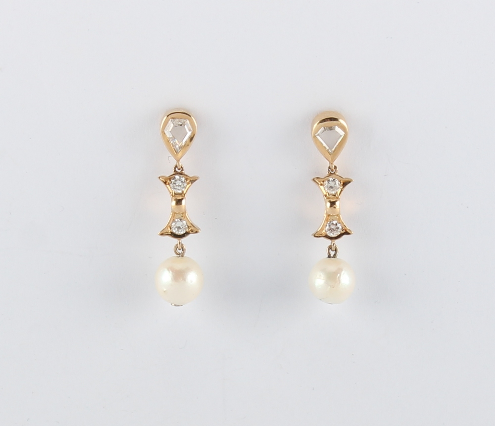 A pair of 18ct yellow gold pearl & diamond earrings, the untested pearls each approximately 8mm