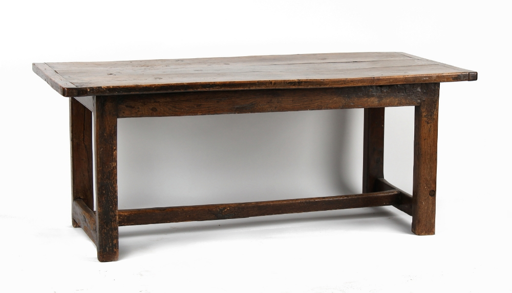 Property of a lady - an oak refectory table, parts probably 18th century, with square section legs