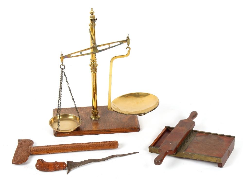 Property of a gentleman - a set of Victorian brass balance scales on oak base, 23ins. (58.5cms.)