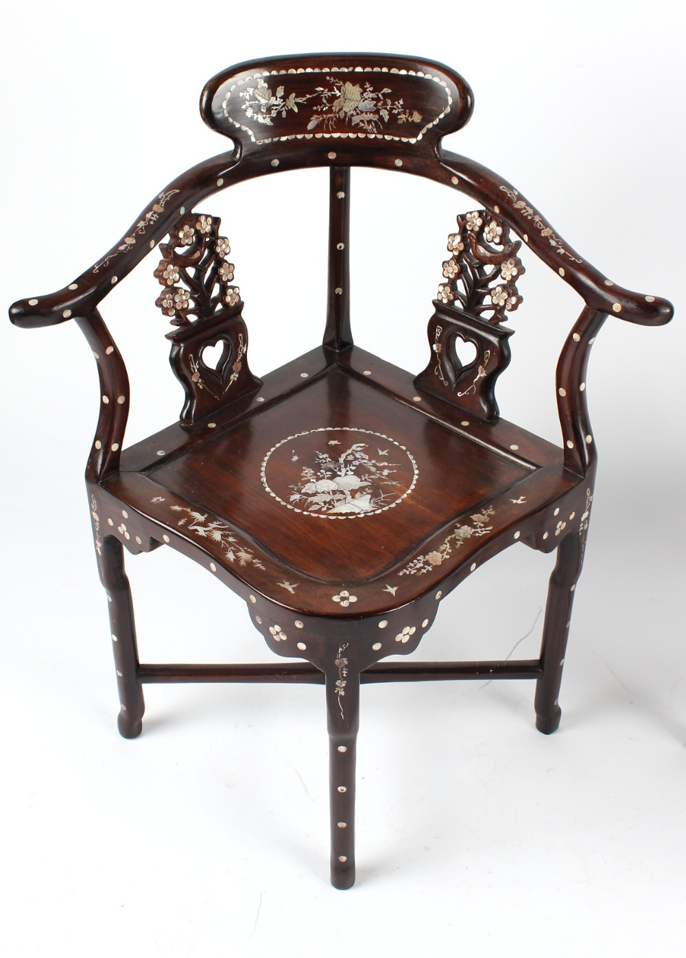 A pair of Chinese mother-of-pearl inlaid corner chairs (2). - Image 3 of 3