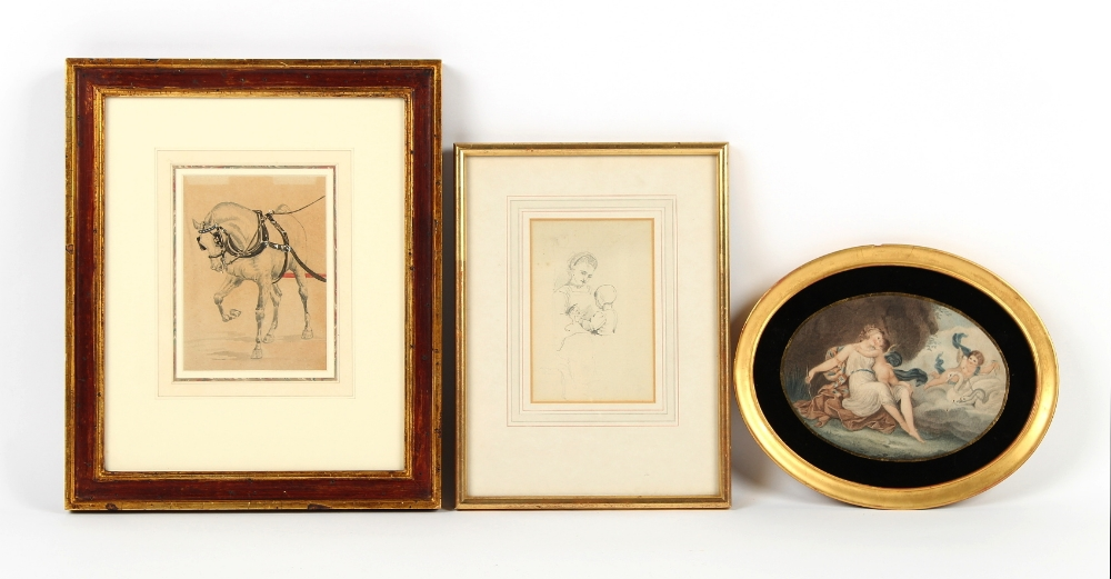 Property of a deceased estate - a watercolour depicting a carriage horse; together with a pencil