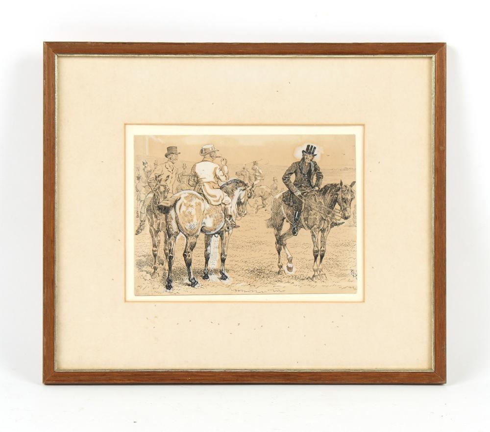 Property of a deceased estate - Alfred Chantry Corbould (1852-1920) - GENTLEMEN ON HORSEBACK - ink &