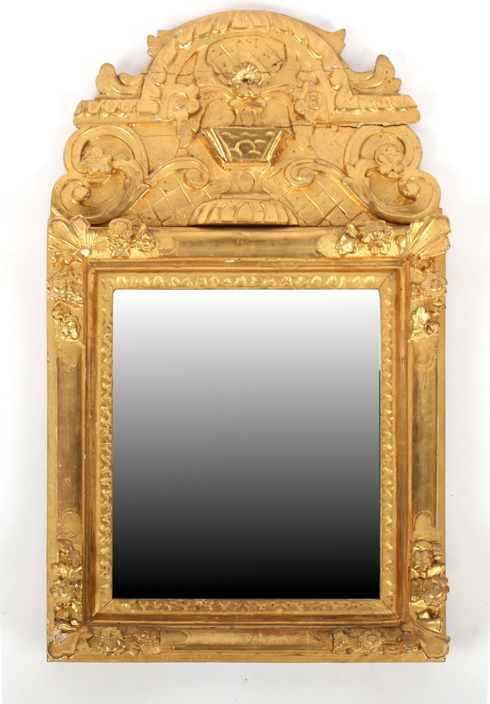 Property of a lady of title - a 19th century Continental giltwood framed wall mirror with later