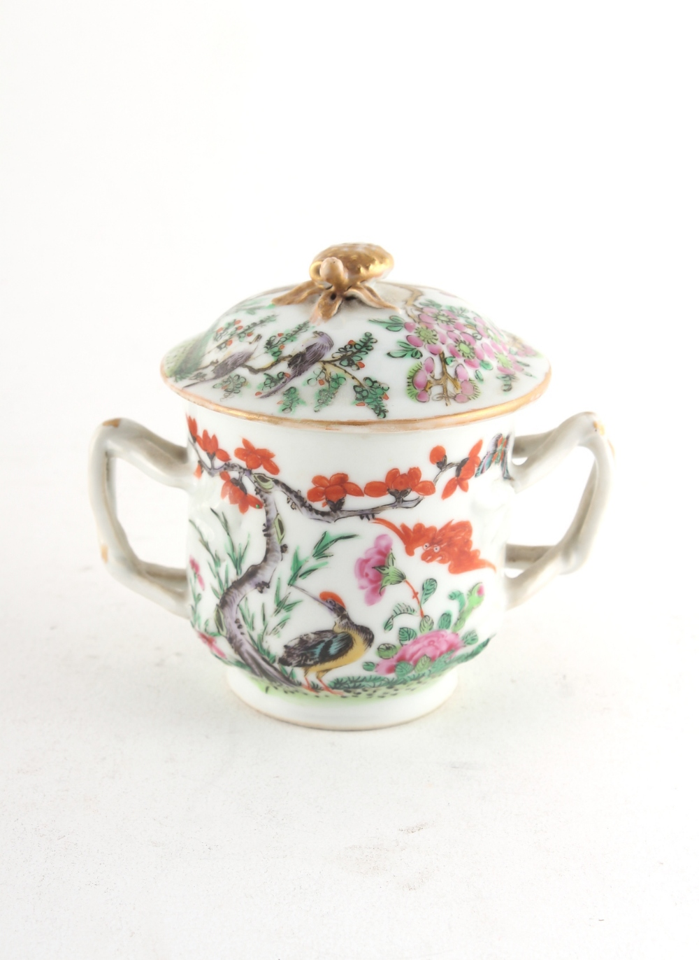 Property of a lady - a 19th century Chinese Canton famille rose two-handled cup & cover.