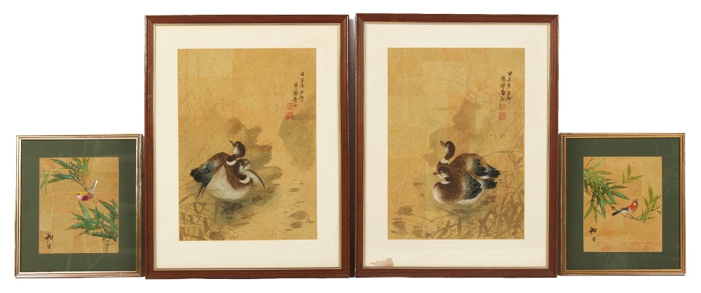 Property of a deceased estate - a pair of late 20th century Chinese paintings depicting ducks in