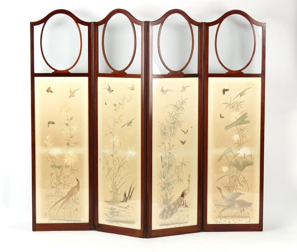 Property of a gentleman - a late 19th / early 20th century mahogany four panel screen, with