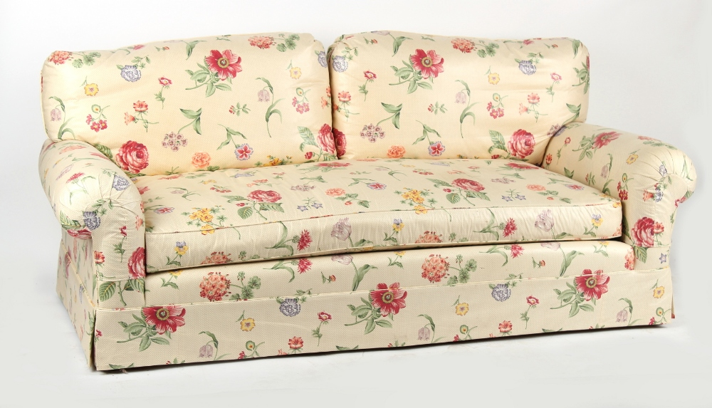 Property of a gentleman - a good quality Kingcome sofa with floral upholstery, 80.5ins. (204.