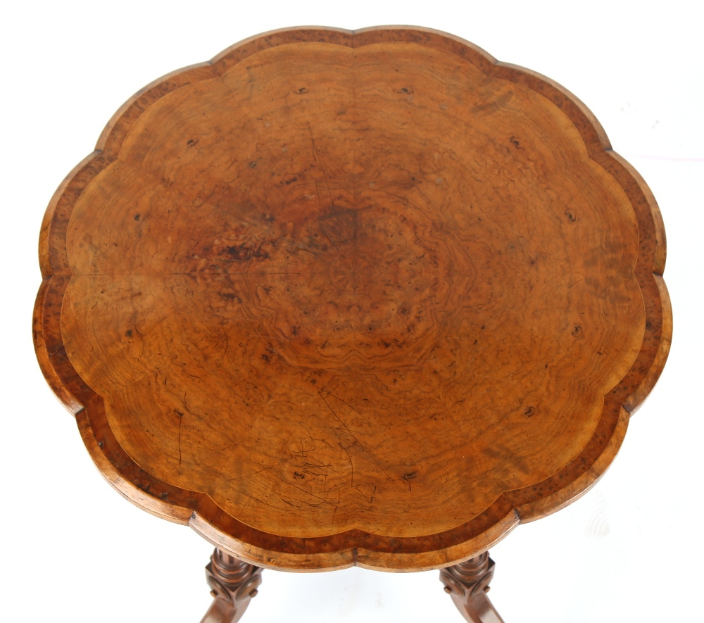 Property of a deceased estate - a good quality Victorian burr walnut & thuyawood banded twelve sided - Image 2 of 2