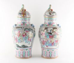 Property of a lady - a pair of late 19th / early 20th century Chinese Canton famille rose vases & co
