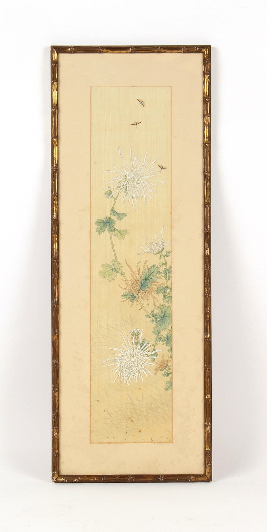 A Chinese painting on silk depicting butterflies above chrysanthemums, early 20th century, the