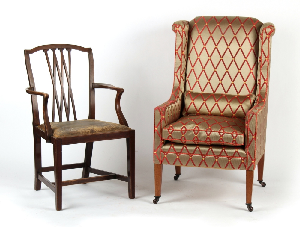Property of a gentleman - an Edwardian armchair with later upholstery; together with an Edwardian