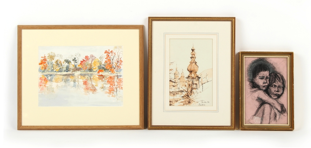 Property of a deceased estate - three assorted framed & glazed pictures comprising a watercolour
