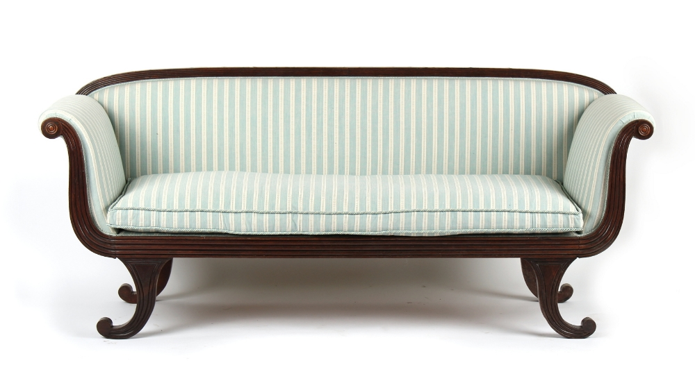 Property of a gentleman - an early 19th century Regency period mahogany sofa with later pale blue