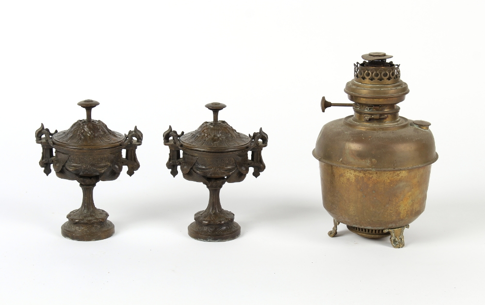 Property of a gentleman - a pair of late 19th / early 20th century French spelter urns & covers, 8.
