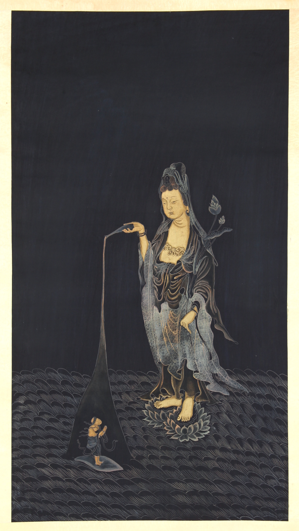 Property of a gentleman - an early 20th century Chinese scroll painting depicting Guanyin, the