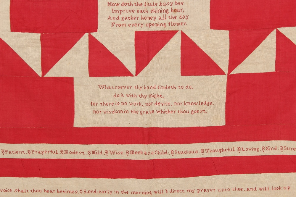 Property of a gentleman - a 19th century red & white cotton quilt or coverlet, reputedly the work of - Image 3 of 5