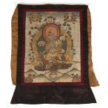 A 19th century thankga painted on linen and depicting the Green Tara, the painting 21.25 by 16.