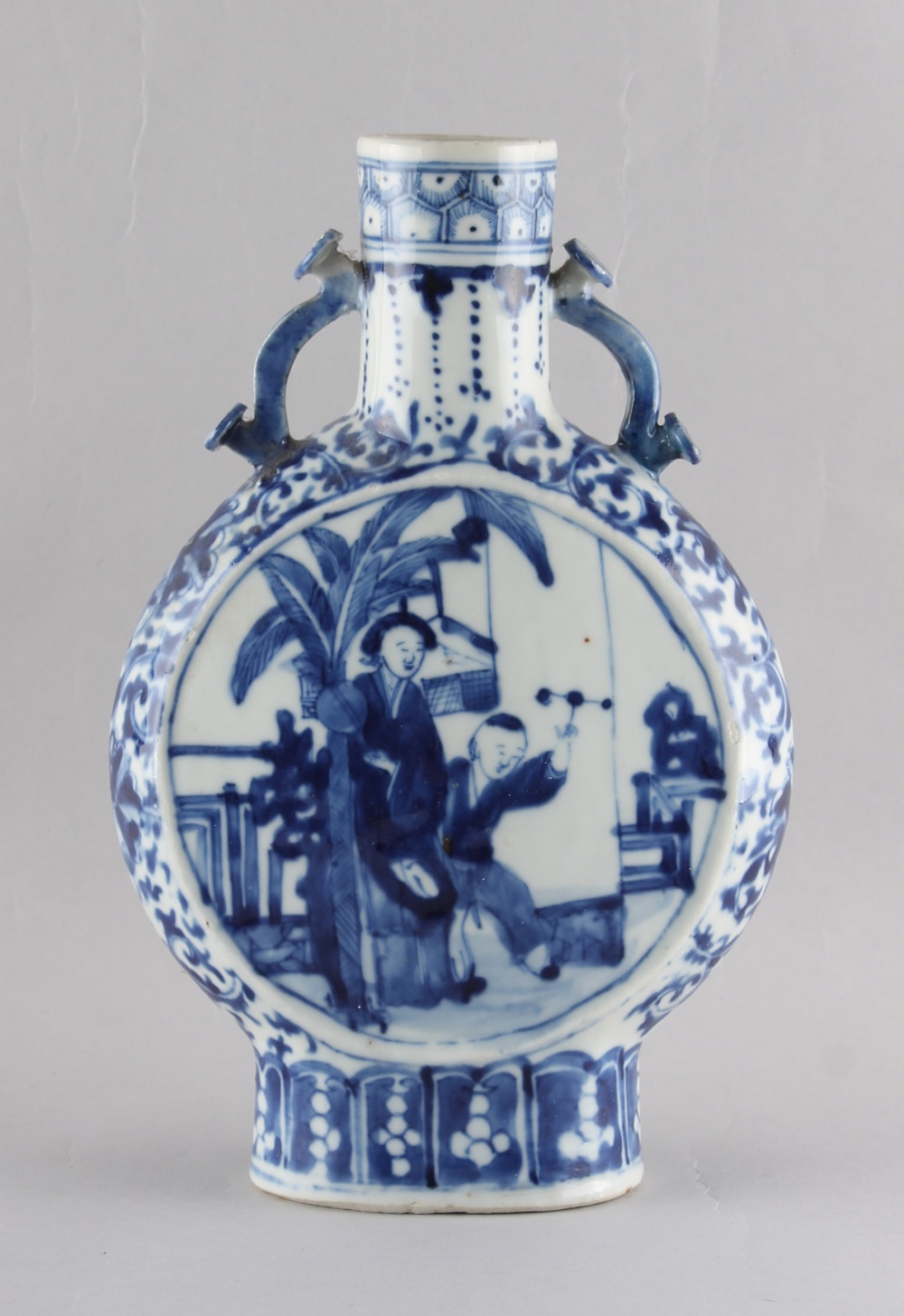 A 19th century Chinese blue & white moon flask, apocryphal Kangxi 4-character mark, 9.85ins. (