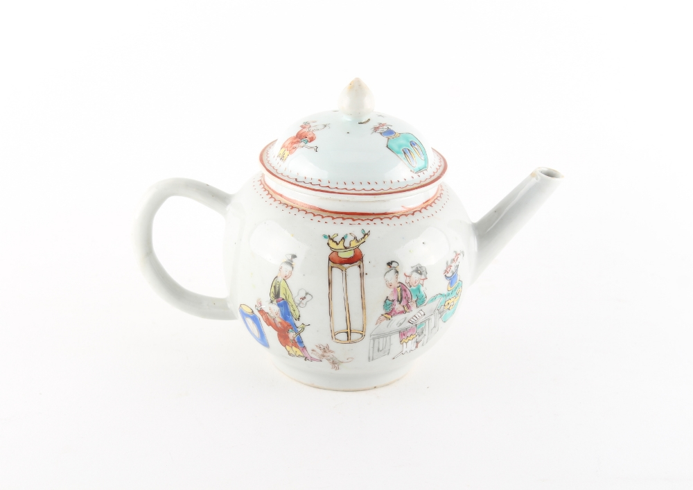A Chinese famille rose teapot, 18th century, painted with a family and dog in an interior. - Image 2 of 2