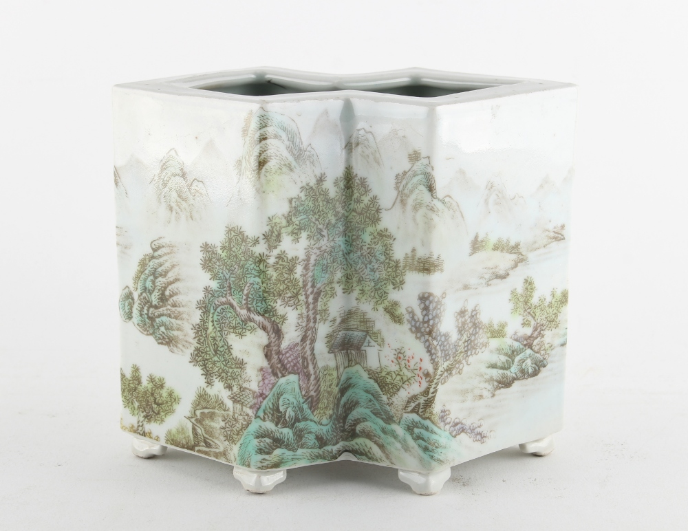 A Chinese porcelain double rhomboid vase, decorated with an extensive mountainous river landscape,