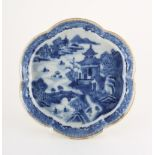 An 18th century Chinese Qianlong period blue & white spoon tray, of hexalobed form, 5.2ins. (13.