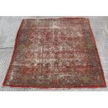 Property of a lady - a late 19th century Ziegler Mahal carpet, worn, 118 by 114ins. (300 by