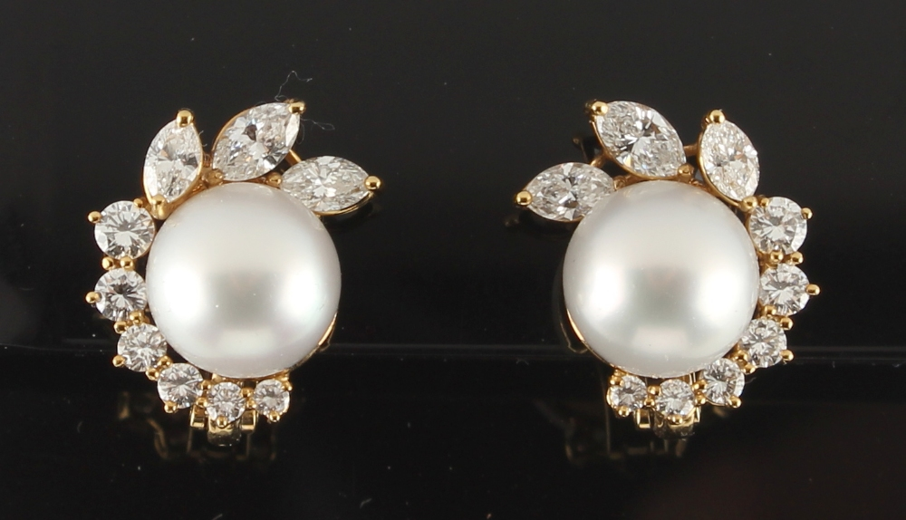 A pair of 18ct yellow gold pearl & diamond earrings, each set with a large pearl measuring