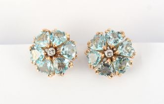 A good pair of aquamarine & diamond flowerhead cluster earrings, each set with six heart shaped