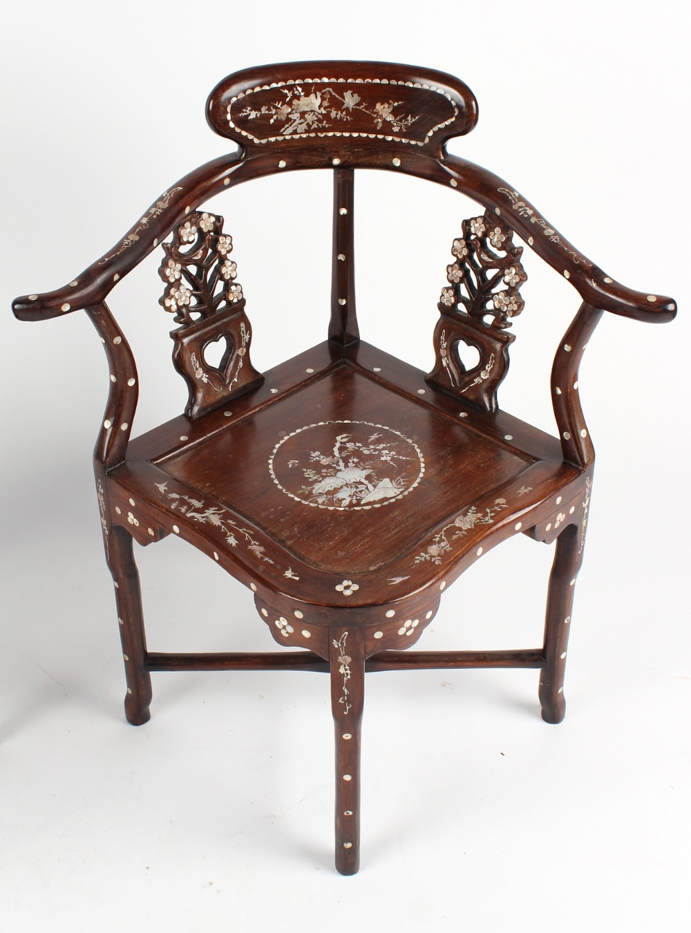 A pair of Chinese mother-of-pearl inlaid corner chairs (2). - Image 2 of 3