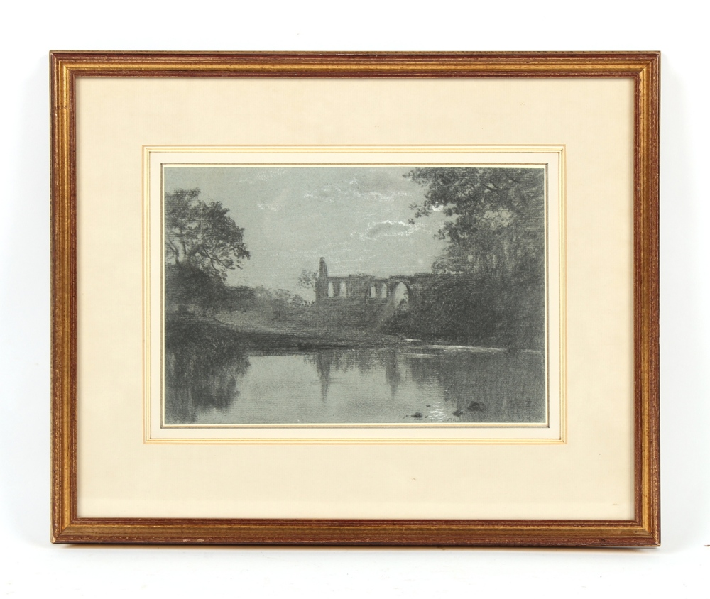 Property of a deceased estate - Leonard A. Pownall (fl.1890-1913) - BOLTON ABBEY BY MOONLIGHT -