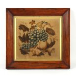 Property of a gentleman - a mid 19th century painted velvet picture depicting a bird pecking grapes,
