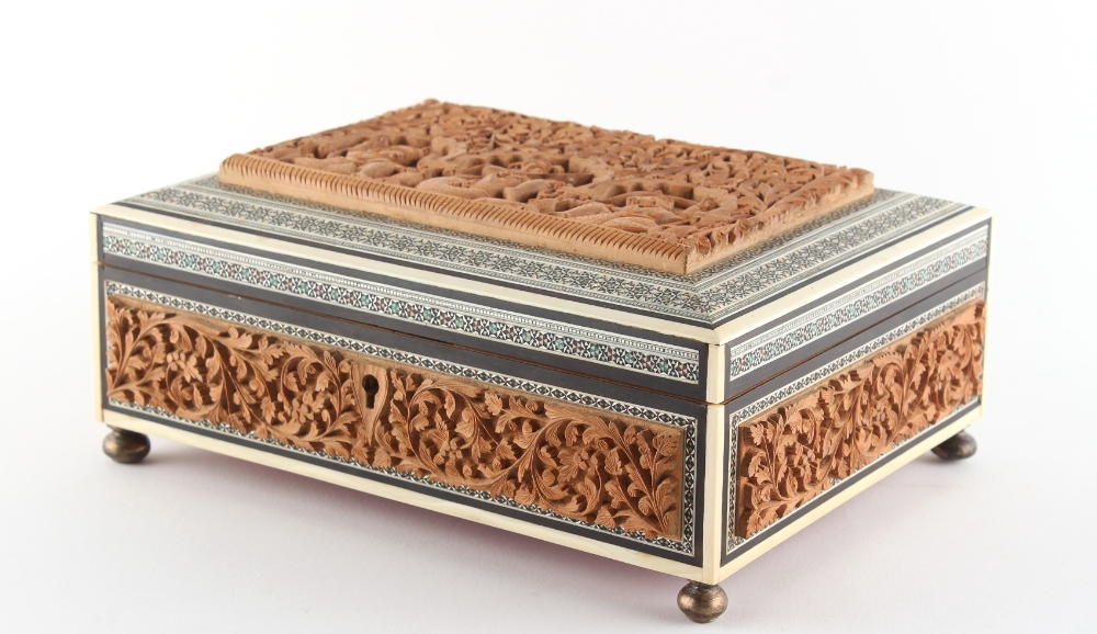 Property of a gentleman - a late 19th / early 20th century Anglo-Indian carved sandalwood & sadeli - Image 2 of 4