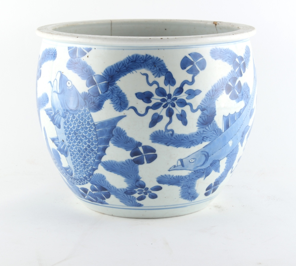 Property of a lady - a 19th century Chinese blue & white fish bowl planter, painted with a - Image 2 of 4