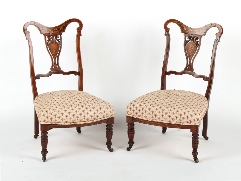 Property of a deceased estate - a pair of Edwardian rosewood & marquetry inlaid nursing chairs (2).