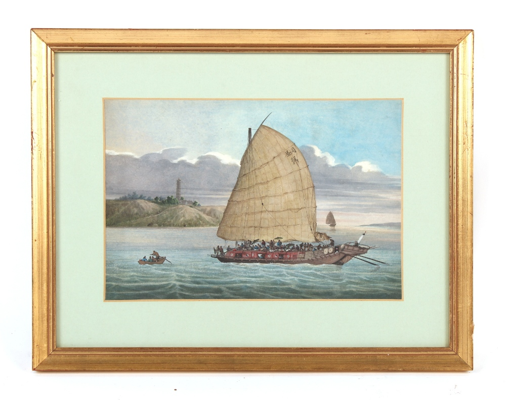 Property of a deceased estate - a 19th century Chinese watercolour depicting a junk off coast, the