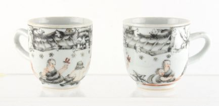 Property of a gentleman - a pair of Chinese European subject cups, Qianlong period (1736-1795),