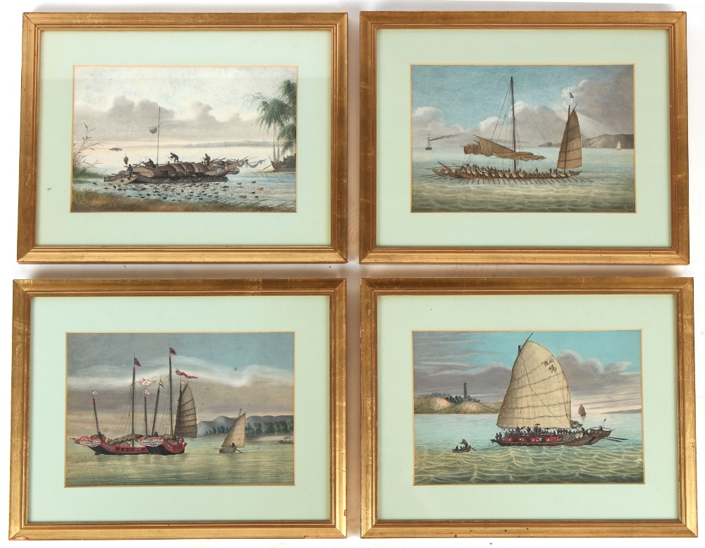 Property of a deceased estate - a set of four 19th century Chinese watercolours depicting junks,