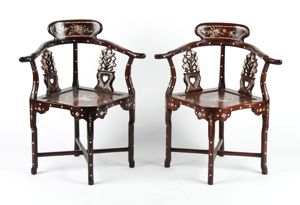 A pair of Chinese mother-of-pearl inlaid corner chairs (2).