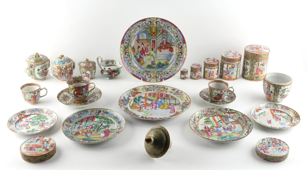 Property of a lady - a quantity of 19th century Chinese Canton famille rose porcelain items, the