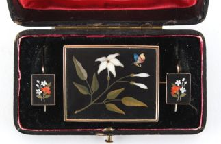 An unusual antique floral pietra dura brooch and earrings suite in fitted box, probably Italian, the