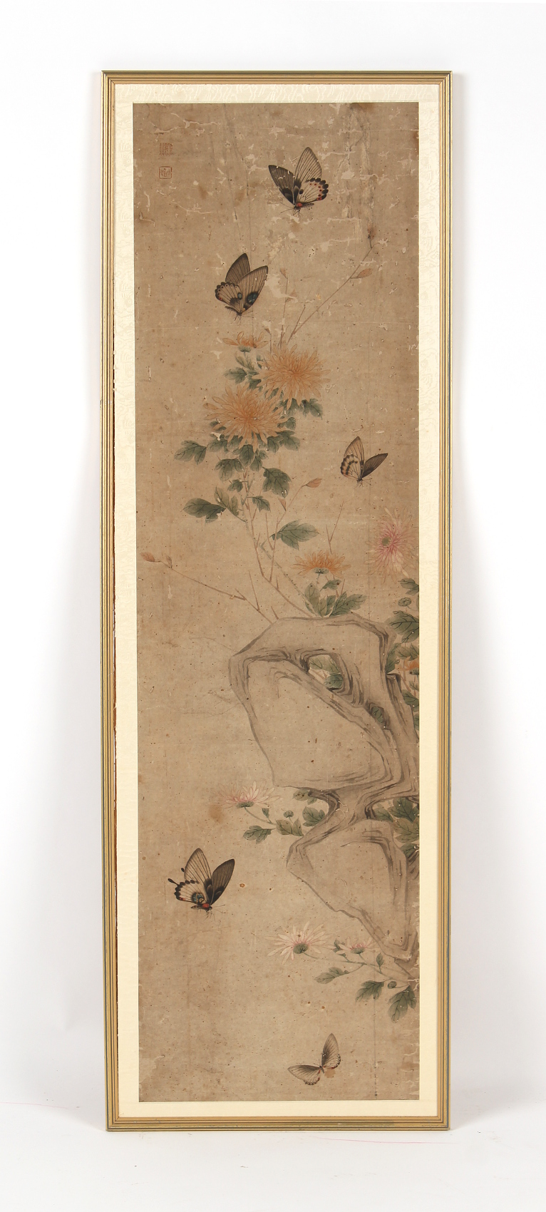 Property of a gentleman - a Chinese painting on paper depicting butterflies among rocks & flowers,