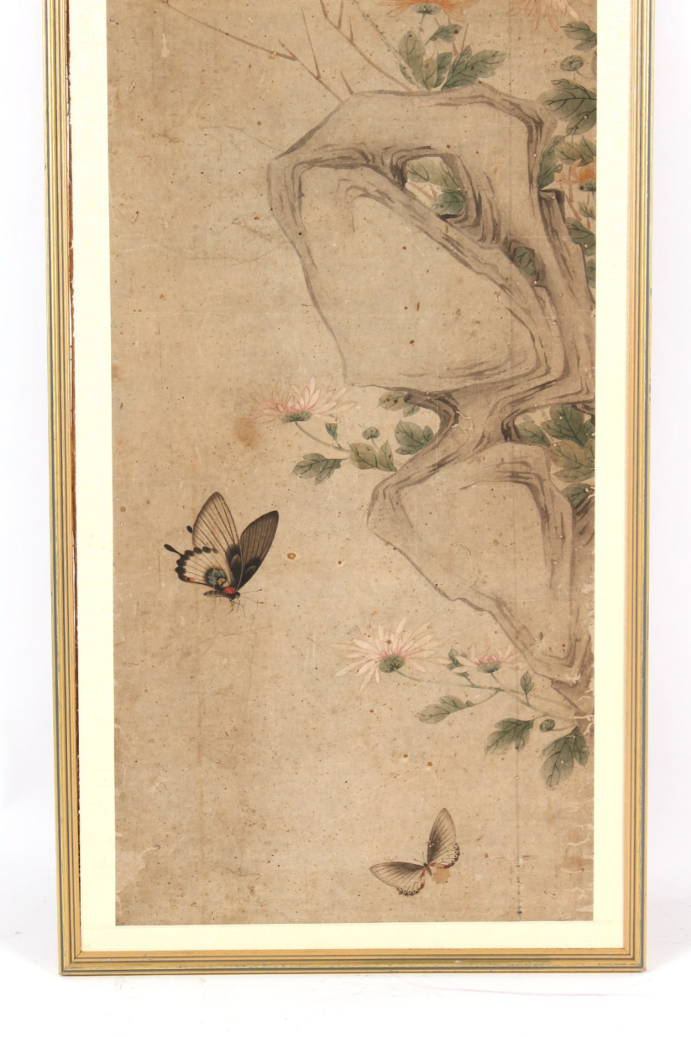Property of a gentleman - a Chinese painting on paper depicting butterflies among rocks & flowers, - Image 2 of 3