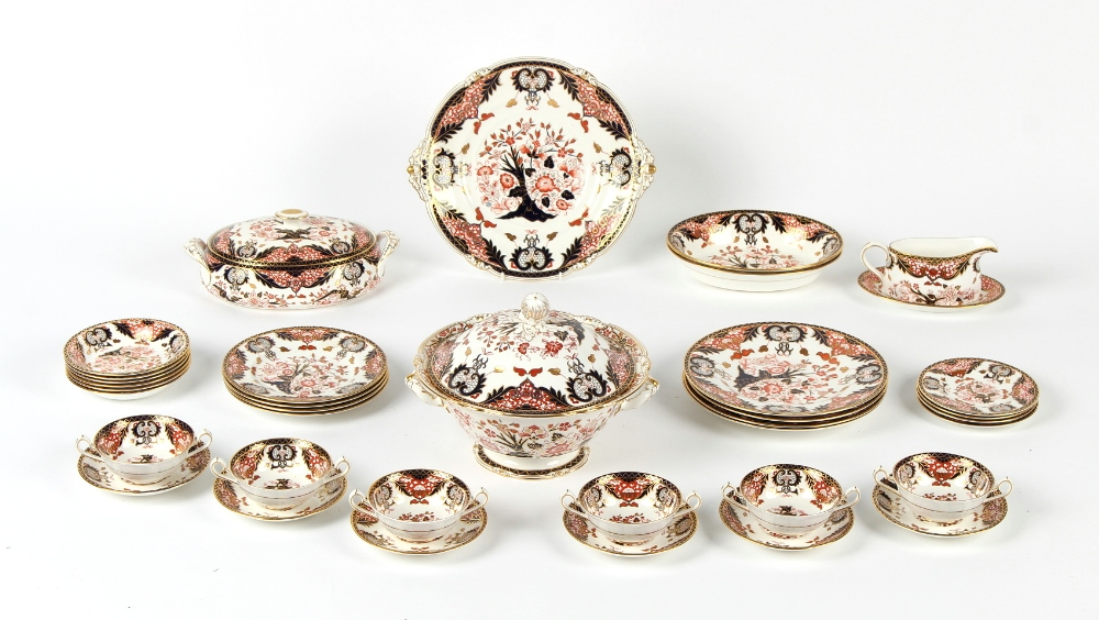 Property of a deceased estate - a Royal Crown Derby imari pattern 383 thirty-six piece part dinner