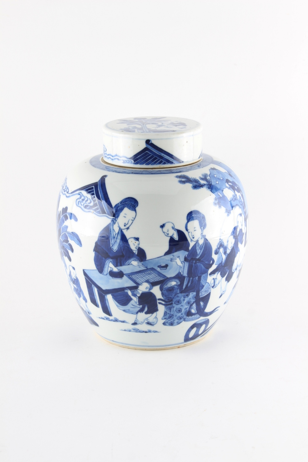 Property of a lady - a 19th century Chinese blue & white ovoid ginger jar & cover, painted with