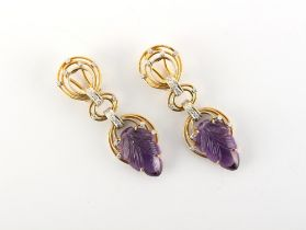 A pair of carved amethyst & diamond pendant earrings, the amethysts carved as leaves, maker's mark